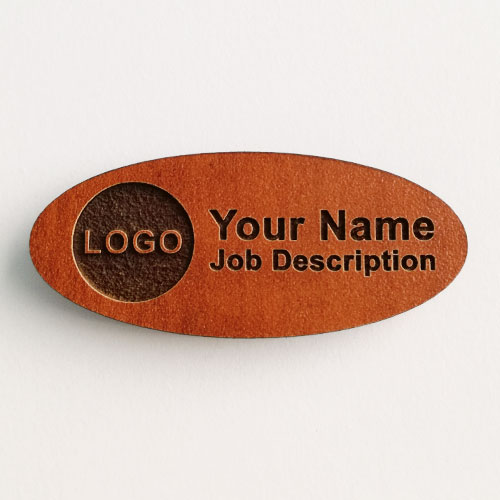 name badges wooden oval