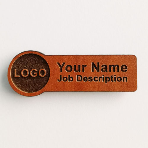 name badges wooden rectangle