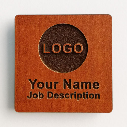 Name badges wooden square